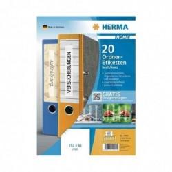HERMA Lot de 20 étiquettes pour dos de classeurs 192 x 62 mm, blanc