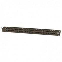 """WAYTEX Panneau de brassage téléphonique noir 19"""" 1U 50 ports ISDN Cat. 3"""