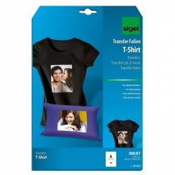 SIGEL Etui de 6 Films Transfert Jet d'encre T-shirt Textiles Sombres