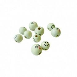 PW INTERNATIONAL Sachet de 20 Perles en bois Visage Diam 12 mm