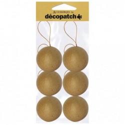 DÉCOPATCH Sachet de 6 boules avec cordon doré 6cm à Décorer