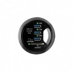 KONNI Hub USB 3.0 3 ports + 2 slots SD +son à encastrer