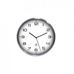 ALBA Horloge murale élégante inox à pile 1AA non fournie - D35,5 cm, P4,18 cm gris