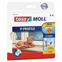 TESA Moll CLASSIC P-Profil calfeutrage caoutchouc Ep 2-5 mm  9mm x 6 m Blanc