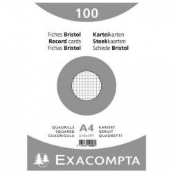 EXACOMPTA Paquet de 100 Fiches BRISTOL BLANC 210/297 5X5 S/FILM