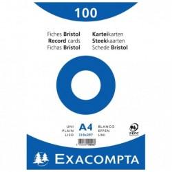 EXACOMPTA Paquet de 100 Fiches BRISTOL BLANC 210/297 S/FILM