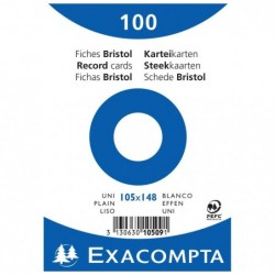 EXACOMPTA Paquet de 100 Fiches BRISTOLS BLANC 105/148 S/FILM