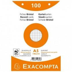 EXACOMPTA Paquet de 100 Fiches BRIST. ASS 148/210 5X5 PERF S/FILM