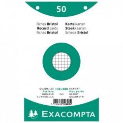 EXACOMPTA 50 F.BRIST.BLANC 125/200 5X5 PERF S/FILM