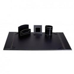 """SIGN DIFFUSION Ensemble de bureau """"Elyane"""" 4 pièces en vinyle grainé coloris noir"""