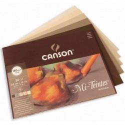 CANSON Bloc Papier Mi-Teintes 320 x 410 mm 30 feuilles 160g 5 Nuances de Terre