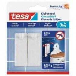TESA Powerstrips Lot de 2 Clous adhésif pour carrelage et métal 3 Kg