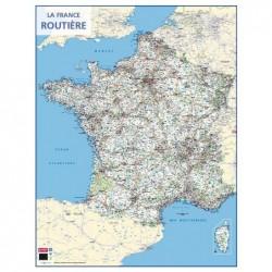 """BOUCHUT Carte murale souple pelliculée effaçable """"France Routière"""" 84,5 x 66 cm"""
