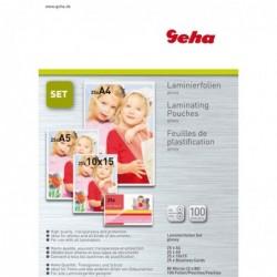 GEHA Pack de 100 feuilles à plastifier (25 x formats A4, A5, A6, A7)