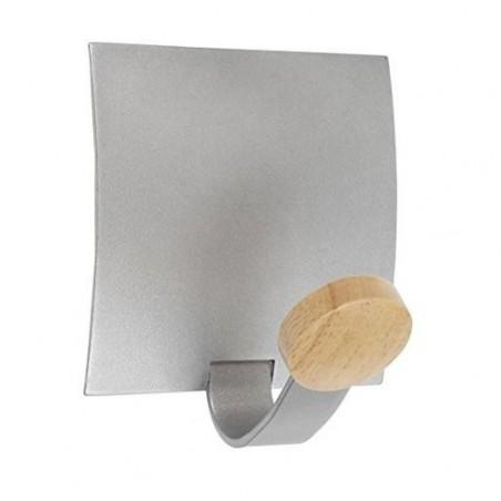 ALBA Patère magnétique métal et embouts en bois jusqu'à 5kg - Dimensions : L11 x H12,67 x P9,42 cm
