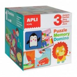 APLI Boîte de 3 jeux Mémory, Domino, Puzzle