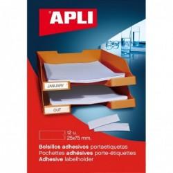 APLI Pochette de 12 porte- étiquettes adhésifs  25 x 75 mm