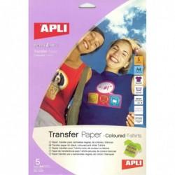 APLI Poch. 5 Flles de papier transfert pour t-shirt de couleur  210 x 297 mm