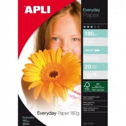 APLI Pochette 20 feuilles papier photo brillant FSC 10 x 15 cm 180g Blanc