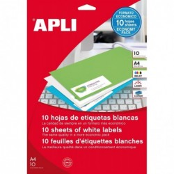APLI Etui de 20 étiquettes 210x148 mm (2 x 10F A4) Multi-usage Coin Droit Permanent Blanc