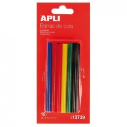 APLI Sachet de 12 bâtons de colle couleurs assorties