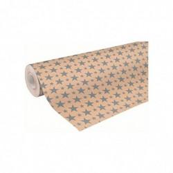 CLAIREFONTAINE Rouleau Papier Cadeau Kraft 0,7 x 50 m noel étoiles argent
