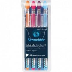 SCHNEIDER Pochette de 4 stylos à bille Slider Basic Pte Extra Large Colours Multicolore