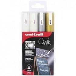 UNI-BALL Etui 4 marqueurs craie pte conique moyenne PWE5M/4 ASSF46 2 Blancs - Argent - Or