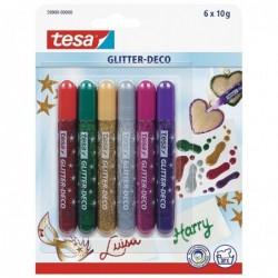 TESA Pack de 6 Styos Colles Paillettes Classique Rouge/Vert/Jaune/Gris/Rose/Violet