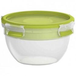 EMSA Boîte à Salade 2 Compartiments et Couvercle 1 Litre, Transparent/Vert, Clip & Go