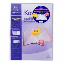 EXACOMPTA Protège-cahier 24x32 cm KOVER avec 2 Rabats Translucide Incolore