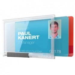 DURABLE Pack 10 Porte-badge PUSHBOX DUO Carte 54 x 87 mm Transparent