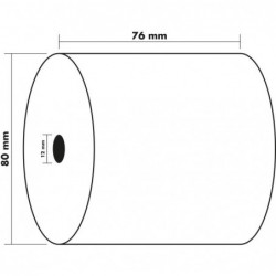 EXACOMPTA Lot de 10 Bobines Caisse 1 pli Offset 60g 76 x 80 x 12 mm 55 m Blanc