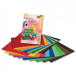 FOLIA Bloc 10 Feuilles Carton 300g pour photomontages A3 Assorties
