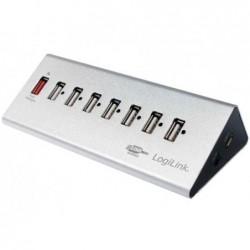 LOGILINK Hub USB 2.0 avec bloc d'alimentation 7 ports + Charge Rapide Argent