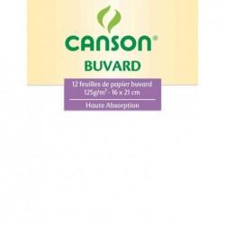 CANSON Pochette 12 Feuilles Buvard 125g 160 x 210 m Blanc