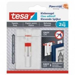 TESA Powerstrips Lot de 2 Clous adhésif Ajustable pour papier peint et plâtre  2 Kg