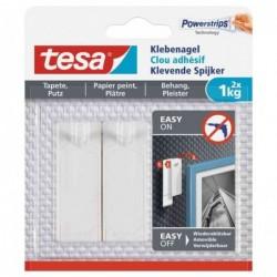 TESA Powerstrips Lot de 2 Clous adhésif pour papier peint et plâtre 1 Kg