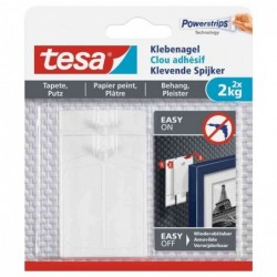 TESA Powerstrips Lot de 2 Clous adhésif pour papier peint et plâtre 2 Kg