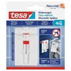 TESA Powerstrips Lot de 2 Clous adhésif Ajustable pour carrelage et métal 4 Kg