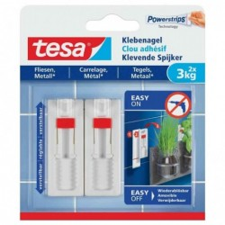 TESA Powerstrips Lot de 2 Clous adhésif Ajustable pour carrelage et métal 3 Kg