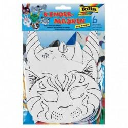 FOLIA Lot de 6 masques pour enfants Carton 6 motifs à Décorer