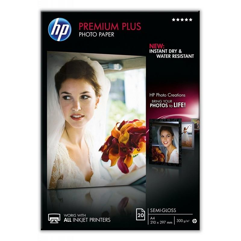 HP Boîte 20 Feuilles Papier Photo Premium Plus A4 Semi Brillant 300g
