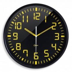 ORIUM Horloge quartz mécanisme silencieux 30cm CONTRASTE Jaune Fond Noir