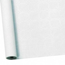 SUSY CARD Nappe de table damassée, en rouleau, 25 x 1m, blanc