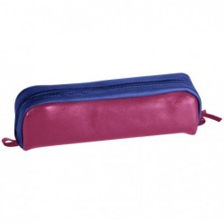 CLAIREFONTAINE CUIR BICOLORE Trousse rectangulaire 21 x 4 x 6 cm, fuchsia/bleu