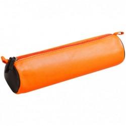 CLAIREFONTAINE CUIR BICOLORE Trousse ronde Ø5,5 x 21 cm, orange/marron