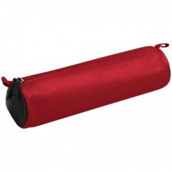 CLAIREFONTAINE CUIR BICOLORE Trousse ronde Ø5,5 x 21 cm, rouge/noir