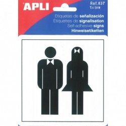 APLI Pictogramme toilette dames/hommes 114 x 114 mm
