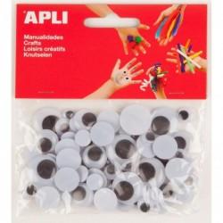 APLI Sachet 75 yeux mobiles ronds noirs  assorties